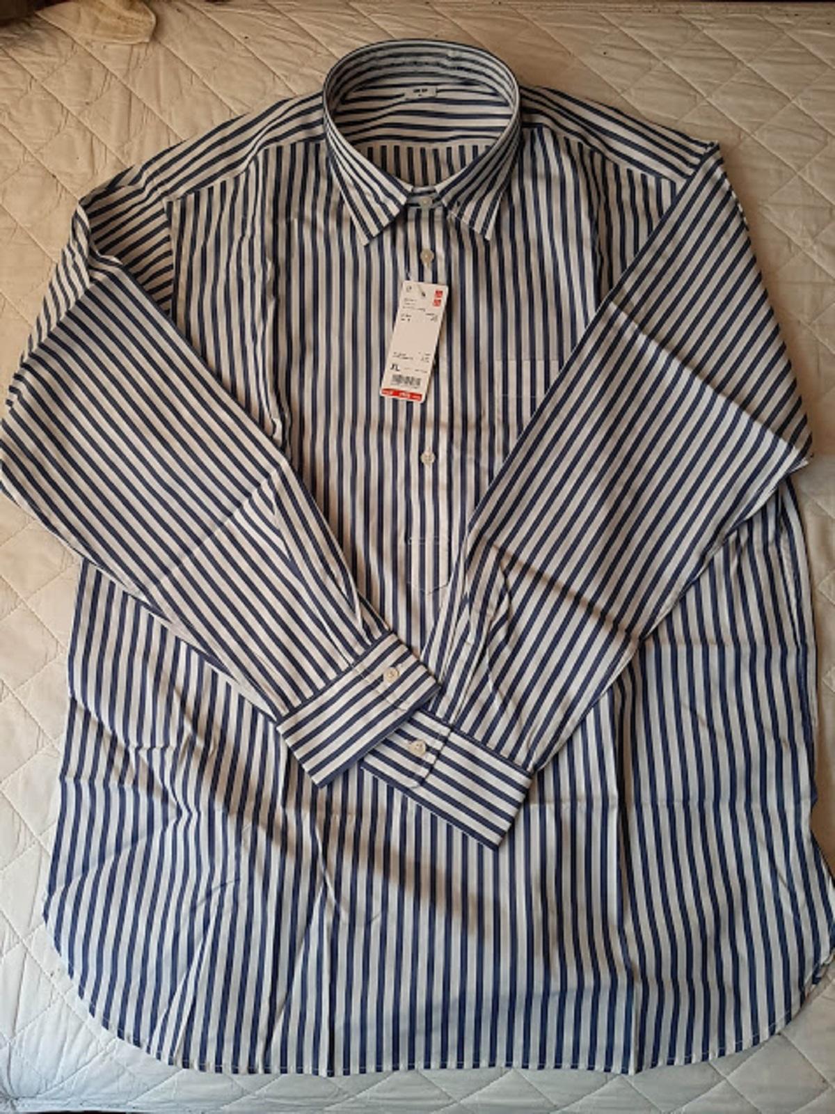 ユニクロ、ブロードプルオーバーストライプシャツ